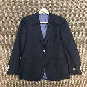 Aquascutum Women's Navy/White VTG Wool Blazer